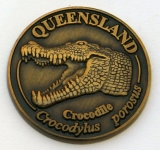 [SCQCG] Souvenir Coin Queensland Crocodile Antique Gold