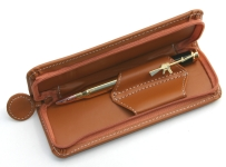 [PENBAGT] Pen Bag Tan Leather 2 Pen With Zip